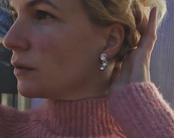 Haptic Collection Sterling Silver Organic Free Form Circle Geometric Earrings | Geometric Earrings | Boho | Dangle Earrings | Gifts for Her