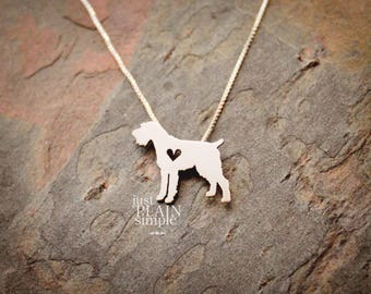 German Wirehaired Pointer, tiny sterling silver necklace, handmade dog jewelry, pendant, pet jewelry
