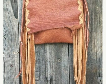 ON SALE Rustic leather phone bag , Leather possibles bag , Fringed leather purse , Small leather crossbody bag