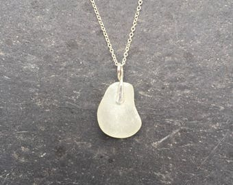 White Sea glass pendant necklace in sterling silver on custom chain, boho beach jewelry, modern beach jewelry, beach glass necklace