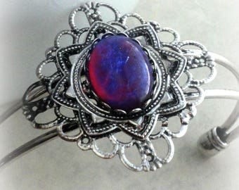 Dragon Breath Cuff Bracelet - Renaissance Jewelry - Medieval Jewelry - Fantasy Jewelry - Fire Opal - Gothic - Victorian - Medieval Bracelet