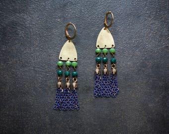 Boho Tassel Earrings Blue Raw Brass Festival Rosary Chain Enameled Chain Tassel Green Emerald Crystal Bohemian Gypset Long Chandelier