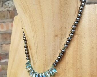 Gray/Green Crystal Choker Neckalace