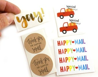 Sticker sample pack -Limit 1 per customer - gold foil yay!, special delivery red truck, rainbow happy mail, thank you for shopping small