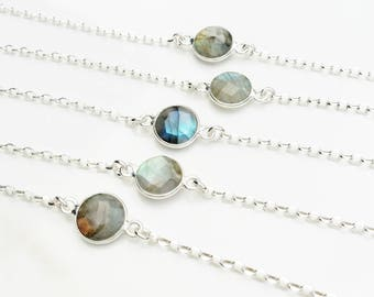 Labradorite and Sterling Silver Bracelet . Precious Stone Jewelry . Anti-Stress Jewelry . Ready to Ship Tatum Bradley