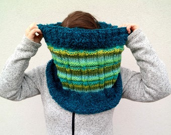 Knit Infinity Scarf, Hand Knitted Chunky Cowl Scarf, Teal and Green Striped Loop Scarf, Chunky Winter Snood, Bright Knit Blue Green Fashion