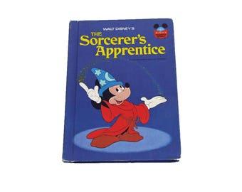 Vintage 1973 Disney Hardback Sorcerer's Apprentice Book Mickey Mouse Free Shipping Fantasia