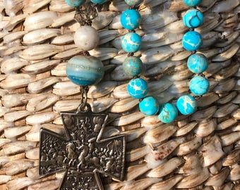 Long Beaded Necklace   Turquoise Color