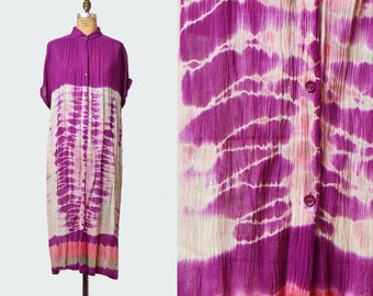 Vintage 70s Hippie Dress Tie Dye Maxi  / 1970s India Gauze Psychedelic Short Sleeve Button Down Long Dress White Pink Purple Medium