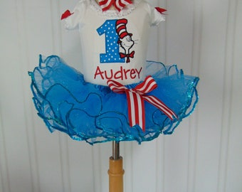Dr. Seuss-Cat in the Hat- Birthday Outfit- Personalized Onesie/T-Shirt/Tutu and Headband- 1st Birthday Outfit