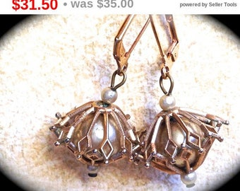 Summer Sale Mid century Gold Toned Caged Pearl Dangle Vintage  Earrings