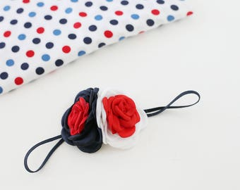 Stand By Me - red, white and blue Fourth of July satin rosette rose headband bow