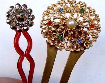 2 Vintage hair pins hair pick hair fork hair accessory hair jewelry hair ornament decorative comb