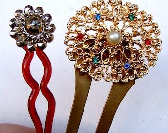 2 Vintage hair pins hair pick hair fork hair accessory hair jewelry hair ornament decorative comb