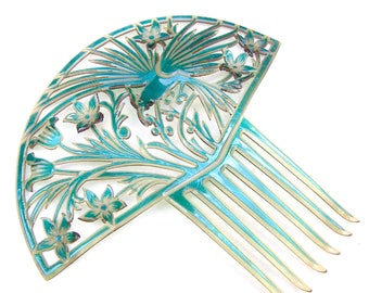 Large Art Deco turquoise hair comb with parrot Spanish style hair accessory headdress headpiece decorative comb