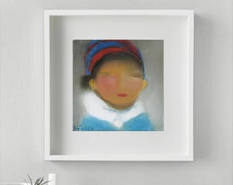 Giclee canvas prints, kids room decor, I am turning Frozen small kid winter gears making Snow Angels Art print from original oil on canvas