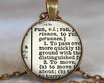 "Run dictionary necklace, ""Run"" dictionary pendant, dictionary word jewelry gift for runner dictionary necklace key chain key ring key fob"