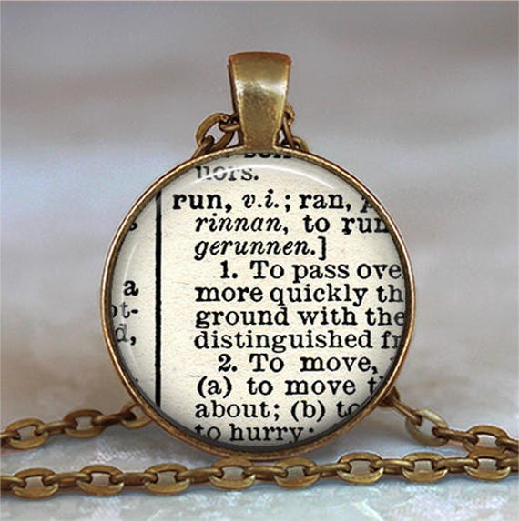 Run dictionary necklace run dictionary pendant like this item aloadofball Choice Image