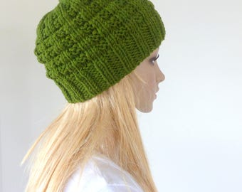 Green knit hat Green Beanie Merino winter skull cap Mens beanie