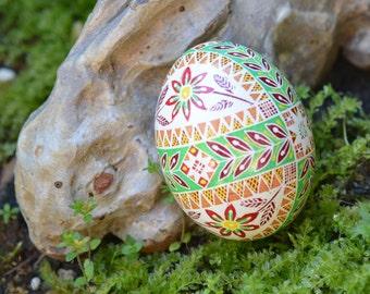 Ukrainian Easter egg pysanka with cross and flowers beautiful handmade gift idea for Christmas birthday anniversary or weddings baby shower