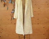 Vintage 50's Cream Velvet Full Length Tapestry Coat Warm Cozy Stylish Great Condition  SZ M/L