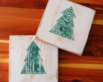 Evergreen Cabin Coasters Set of 4 - Cabin Coaster Set - Rustic Coaster Set - Handpainted Cedar - Teacher Gift - Pine Tree - Wood Coasters