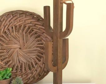 Vintage Siesta Ware Cactus-Shaped Wooden Mug Tree, Mug Holder, Southwest, Boho Decor