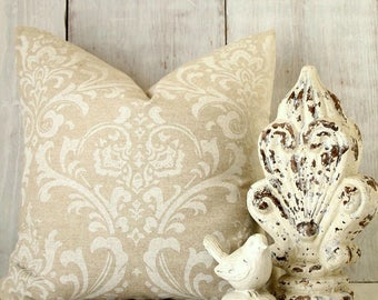 Tan Damask Throw Pillow Cover - French Cottage Decorative Pillow Case - Neutral Pillow