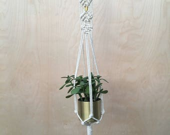 Macrame Plant Hanger with Brass Detail