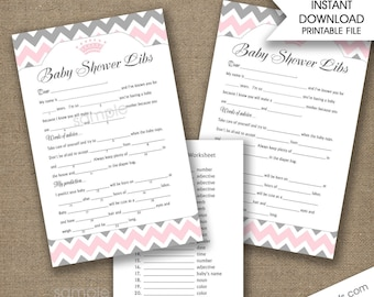 Baby Shower Lib game, Girl baby shower game, baby advice, baby predictions, pink gray shower, printable games, game download