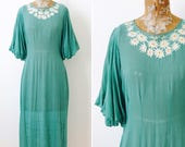 Vintage 1930s Turquoise Color Silk Chiffon Dress/Bishop Sleeves/Daisies Embroidery/Flared