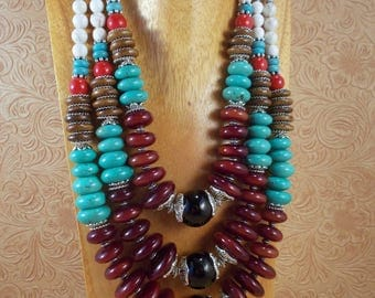 Statement Necklace Set - Chunky Turquoise Howlite - Brown Resin - Oxbone - Black Agate - Tribal - Gypsy Cowgirl