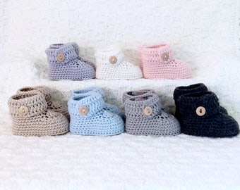Short Moccasin Baby Booties Knit Merino Wool Crochet Button Boots Gender Neutral Baby Shower Gift Announcement Box by WarmAndWoolly on Etsy
