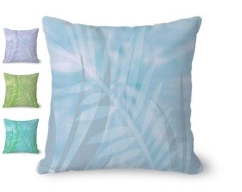 Botanical Throw Pillow Cover, boho decor, leaves print, light blue pillow, blue and gray pillow, tropical decor, decorative pillow