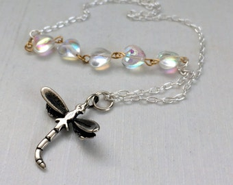 Dragonfly Necklace, Rosary Necklace, Sterling Silver, Boho Necklace, Summer, Dragonfly Pendant, Silver Dragonfly,  Nature Jewellery