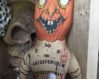 EHAG OOAK Folk Art Halloween Voodoo Doll With Ouija Board Belly Curiosity Cabinet for the Wicked Witch Magic In You Free Ship in USA
