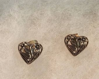 Antique Sterling Silver Heart with Flowers Stud Earrings