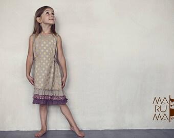 Girls dress Girls Linen dress Linen dress with golden dots and ruffles Flower girls dress Linen girls outfit Boho dress Girls Ruffle dress
