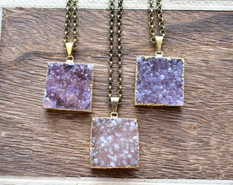 Large Gold Brass Square Druzy Necklace/ Natural Crystal Quartz Druzy Stone/ Must Have Gift Stylish Fashion Layering Piece (EP-BND20-L)