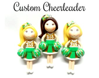 Custom Cheerleader Ornament, Pendant, Bow Center, Purse Charm, Magnet, Brooch, Necklace, Personalized Cold Porcelain Clay Figurine, Gift