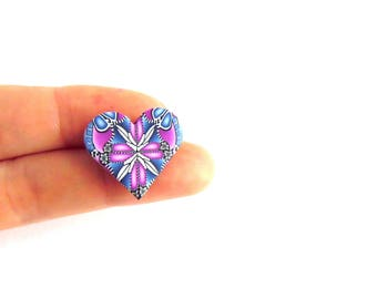 Pink and Blue Millefiori Brooch, Heart Shaped, Small Pin Badge, Polymer Clay, Fimo, by Supremily Jewellery