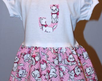 Personalized  Dress - pink, black, white, kittens, cats, short sleeve party dress, unique toddler boutique style dress