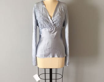 periwinkle blue silk blouse | embroidered wrap blouse || belted baby doll silk top