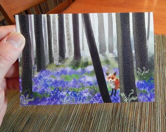 Fox in a Spring Bluebell Forest Blank Note Card