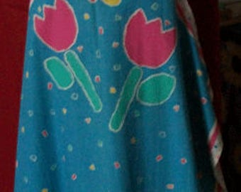 Spring APRON, Butterfly and Tulips, Turquoise, pink and yellow.
