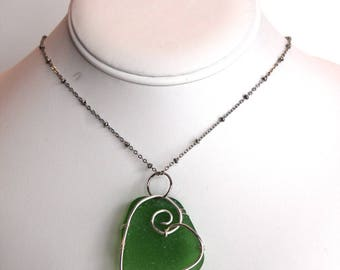 Silver Sea Glass Heart Green Necklace Beach Glass Pendant Valentine Love
