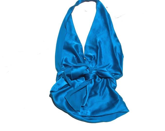 Blue Silk Halter | 90s vintage deep v plunging neckline open exposed back royal cerulean BLUE aqua waist tie elegant formal cocktail top S
