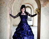 Purple Gothic Wedding Dress Offbeat Alternative with French Pickups and Train