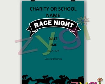 Printable Charity or PTA poster-race night fund raiser- Editable and Printable- you print and edit- INSTANT DOWNLOAD
