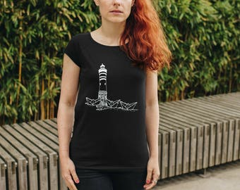 Paperboats & Lighthouse Girl T-Shirt organic cotton fair trade _ black